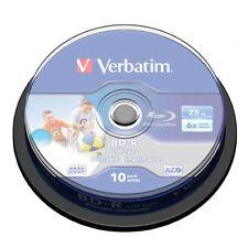 10 BD-R PRINTABLE 6 X Verbatim 100 % Vergini 25 GB Blu-Ray Stampabili Azo 43804