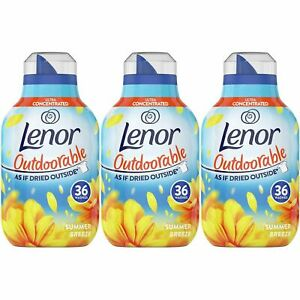 3 x Lenor Outdoorable Fabric Conditioner Summer Breeze 504ml 36 Wash Fresh Scent