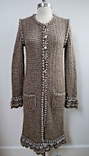 CHANEL taupe and silver metallic knit sweater jacket coat size 38 WORN ONCE