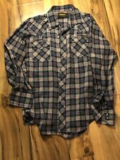 Vintage Roebucks Snap Shirt Blue Plaid Blue Pearl Snaps Size Large 16-16 1/2
