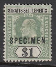 Straits Settlements KEVII $1 Dull Green and Black SG119s-Specimen overprint - MM