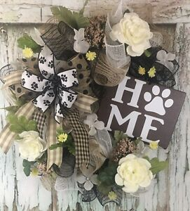 Pet Wreath, HOME Paw Print Pet Wreath White Flowers Deco Mesh Wreath
