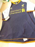 A Liverpool Black Short Sleeved Away Shirt Standard Chartered Warrior Size YXL
