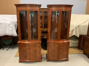A Pair of Stunning, Great Quality Serpentine Bow Front Mahogany Cabinets by Wade