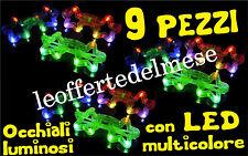9 pezzi occhiali luminosi spiritosi con LED multicolore per gag feste compleanni