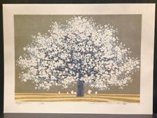 """HAJIME NAMIKI  """"Magnolia2"""" White&LightBlueTree on SilverJapanese Woodcut Print"""