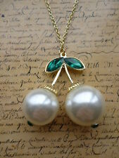Vintage Gold Pearl Pearls Cherry Cherries Costume Jewellery Necklace + Gift Bag