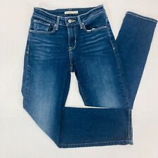Levi Strauss Womens Jeans 4 Blue Mid Rise Skinny Dark Wash Whiskers Faded