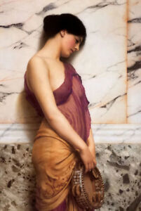 Art Oil painting john william godward - the tambourine girl beauty in street 36""
