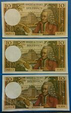3 billets 10 francs Voltaire ancien SPL+ 02.02.1967 numéro se suivant rare