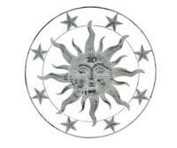 36 Inch Distressed White Metal Sun Face Wall Hanging Rustic Art Decor Sculpture