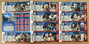 2013 NFL NEW YORK GIANTS FULL UNUSED FOOTBALL TICKETS - ALL 10 HOME GAMES!!