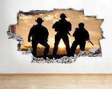 Z002 MILITAR Escena Soldados Chicos Cool Pared Dormitorio Calcamonía Póster 3d