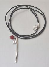 HANDMADE STERLING SILVER 925 PENDANT COFFEE BEAN AND CORAL BLACK LEATHER STRAP