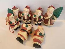 New listing Set of 7 Primitive Christmas Ornaments Chalkware Santa Hand Painted