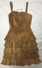 APART Suede Leather Dress Ruffle Skirt Sleeveless Western Festival US NWT