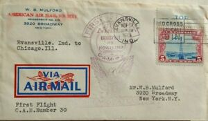 UNITED STATES 1928 FIRST FLIGHT AIRMAIL COVER EVANSVILLE INDIANA TO NEW YORK