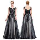 Lace Flower Tulle Long Bridesmaid Evening Formal Party Cocktail Dress Prom Gown