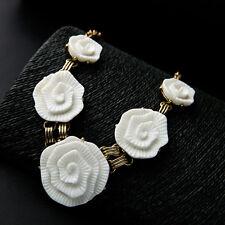 Stunning Big Resin Flower Statement Necklace Collar Double Copper Chain Designer