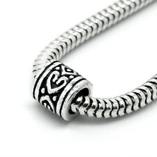 CELTIC HEART-DRUM Distanziatore-Solido 925 argento Sterling Charm Bead Europeo