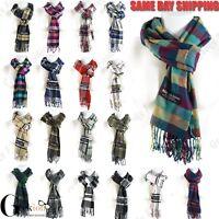 Women Men Scotland Made 100% Cashmere Plaid Scarf Winter Warm Wool Wrap Scarves