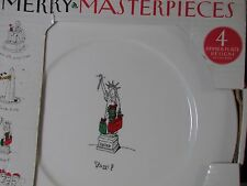 Merry Masterpieces 4 Christmas Dessert Plates American First Edition NIB Retired