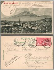 LUZERN SWITZERLAND ANTIQUE POSTCARD w/ STAMP