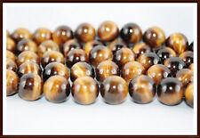 Tigerauge Perlen  6 - 8 - 10 mm golden braun Strang  Edelsteine