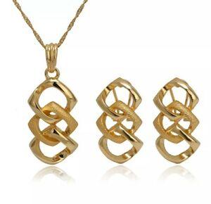 Dubai Gold Costume Fashion African Necklace Earrings Pendant Jewellery Set Gift