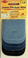 6x Jeansflicken zum Ausbessern hellblau mittelblau schwarz  Bügelflicken