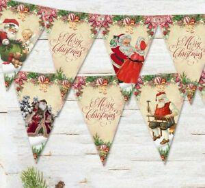 Traditional Rustic Floral Christmas Santa Bunting & Ribbon - 3m / 12 Flags