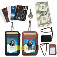 Leather ID Badge Card Holder Neck Lanyard Wallet W/t Zipper RFID Blocking Pocket