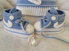 💖Babyschuhe ♥ Sneakers ♥ gehäkelt Turnschuhe ♥   Babyblau / weiß ★ NEU