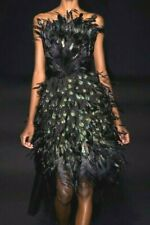 New $11,400 Alberta Ferretti Feather Embroidered Gown Runway Dress US 6 / IT 42