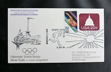 TIMBRES USA : OLYMPIC TORCH STATION 2 JUIN 1984 - NEW YORK / LOS ANGELES - TBE