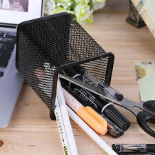 Office Desk Metal Mesh Square Pen Pot Cup Case Container Organiser Holde LOT