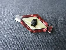Antique art deco marquetry celluloid woman medallion applique jewelry making