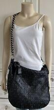 MINORITY black 100% leather, boho slouchy spacious chain strap Shoulder Bag