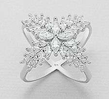 19mm Wide Solid Sterling Silver Sparkling Marquise Statement Ring sz8