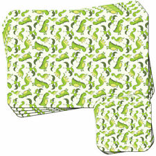 Green Smiling Flying Dinosaur Set of 4 Placemats and Coasters