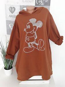 Italy Damen BIG Shirt Oversize Tunika EG 52 54 56 Neu braun Micky Maus Strass
