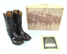 LUCCHESE Leather Boots Roper Western Black Cherry 10D Cowboy