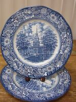 Staffordshire Liberty Blue Independence Hall Historical Colonial 3 Dinner Plate