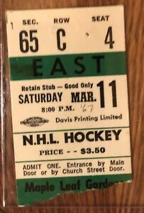 1967 Toronto Maple Leafs Stanley Cup Year stub from NYR game 2-2 tie March 11
