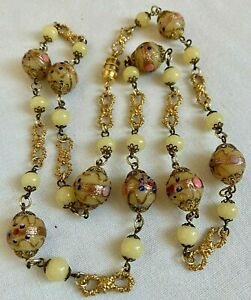 Vintage Art Deco Venetian Murano Wedding Cake Bead Necklace  32 Inch Length