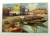 Burano Italy Street Scene Boats Vintage Postcard