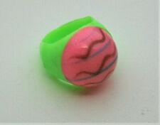 Rare Vending Machine Prize Plastic Hippie Hypno Wavy Pink Ring 1970s NOS New