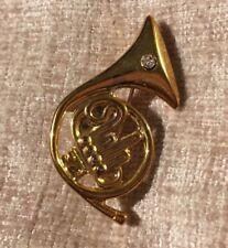 French Horn Brooch Vintage retro 1980s musical diamanté detail gold colour