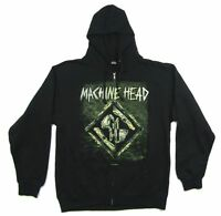 Machine Head Stacked Diamond MH Logo Zip Up Sweatshirt Hoodie New Official Band