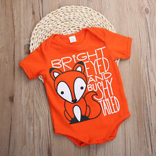 Cotton Newborn Kid Baby Boy Fox Printed Bodysuit Romper Jumpsuit Clothes Outfits
